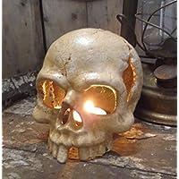Totenkopf mit Brieföffner im Schädel Gothic Deko Gusseisen 20cm Antik-Stil