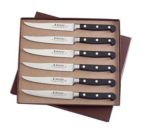 K Sabatier - Coffret De 6 Steaks 13 Cm K Sabatier - Gamme Bellevue - Acier Inoxydable - Manche Noir - 100% Forge - Entièrement Fabrique En France