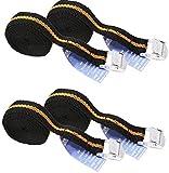 iapyx® 4 Stück Spanngurte Klemmschloss 2.5m Zurrgurte Schnellverschluss (schwarz-orange)