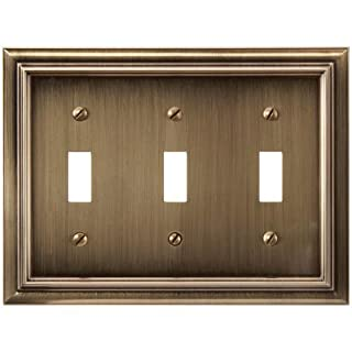 Amerelle 94TTTBB Continental Cast Metal Wallplate with 3 Toggle, Brushed Brass