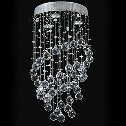 Glighone LED Kristall Deckenleuchte Pendelleuchte Kronleuchter Hängend Modern Kristallleuchter mit 3 Leuchten für Küche, Flur, Wohnzimmer, Schlafzimmer usw. ( 3x GU10 LED erhalten)