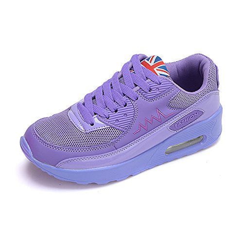 Peggie House Baskets Chaussures Jogging Course Gym Fitness Sport Lacet Sneakers Style Running Multicolore Respirante Femme Violet Clair
