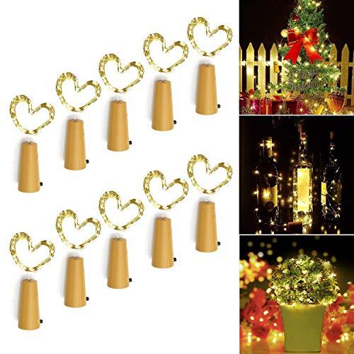 (Yanlan 10x20 Flaschen-Licht Weihnachten Dekorationen LED Flaschenlichter Lichterkette Nacht Licht Weinflasche Hochzeit Party romantische Deko Christbaumschmuck weihnachtsdeko)