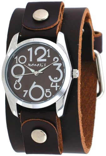 Nemesis #DBGB109B Women's Exclusive Collection Crazy Numbers Dial Wide Leather Cuff Band Watch
