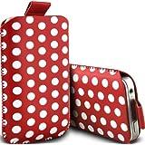 Motorola Moto E XT1022 Premium Schutzhülle Polka PU Leather Pull Tab Kabel rutscht in der Tasche Tasche Skin Cover Quick Release Fall Red & White Hülle Von Spyrox