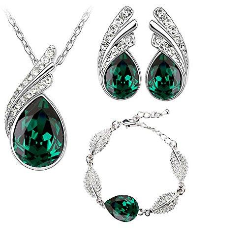 Verde esmeralda verde oscuro Juego de pendientes de tuerca de cristal, pulsera y collar con colgante en forma S759