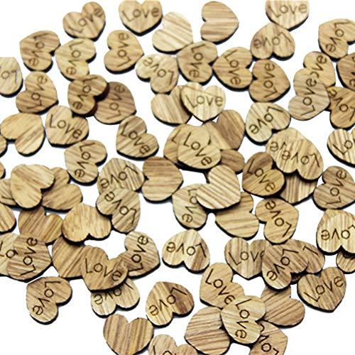 BESPORTBLE 200 Stücke Holz Chips Hochzeit DIY Dekoration Natürliche herzförmigen Holz Chips Candy Bar Party Geschenk