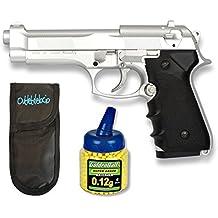 Pack Pistola airsoft M92F metálica, color plata. Calibre 6mm. + Funda portabalines + Biberon 1000 bolas. 23054/21993