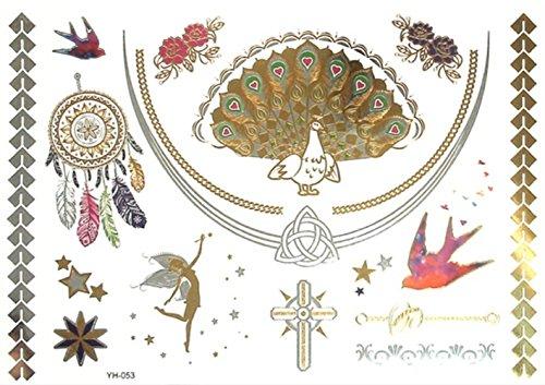 Inception pro infinite yh053 - tattoo finto per il corpo - braccia - caviglie - polso - gamba - coscia - spalla - schiena - pavone - acchiappasogni - fata - rondine - croce - stelle - rose - donna