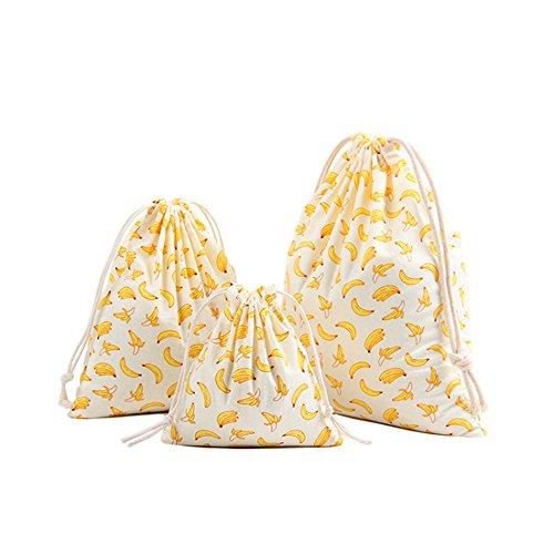 Baumwolle Kordelzug Bag Baumwolle Solid Banana Candy Favor Tasche Schmuck Beutel für Reisen Rucksäcke Aufbewahrung Zuhause Staubbeutel, Baumwoll-Canvas, gelb, S/M/L ()