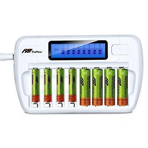 Batterieladegerät,FlePow (Ohne Batterien) 8 Stecker AA AAA Ni-MH Ni-Cd Schnelles Batterieladegerät Fortschrittliches Akku Ladegerät für AA/AAA Ni-MH / Ni-Cd Wiederaufladbare Batterien (Ohne Batterien) Weiß by Flepow ...