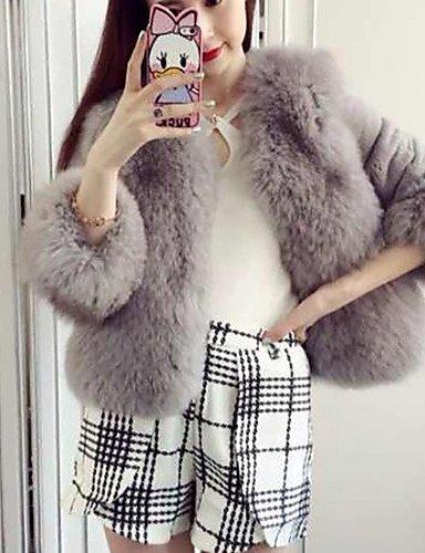 Xuanku Women's Going out Street chic Winter Fur Coat,Solid V Neck Long Sleeve Short Faux Fur Fox Fur