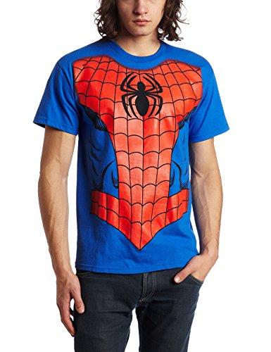 Marvel Herren Spiderman Kostüm T-Shirt - Blau - Mittel (Hot Rock Star Kostüm)