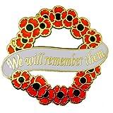 """Spilla con scritta in lingua inglese """"We will remember them"""""""