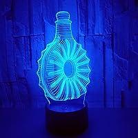 3D Lámpara Óptico Illusions Luz Nocturna 7 Colores Cambio De Botón Táctil Y Cable Usb Botella
