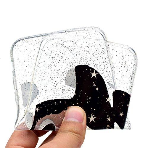 Coque pour iPhone 8 Plus,Silicone Étui pour iPhone 7 Plus,Leeook Créatif Paillettes Brillante Chat Lune Désign Ultra Mince Transparent Crystal Clear Flex TPU Doux Housse Etui de Protection Coque Coqui Panda