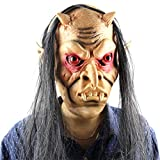 ASOSMOS Halloween Scary Ghost Maske Latex Full Face Rote Augen Lange Haare Perücke Horror Masken Masquerade Party Cosplay Requisiten