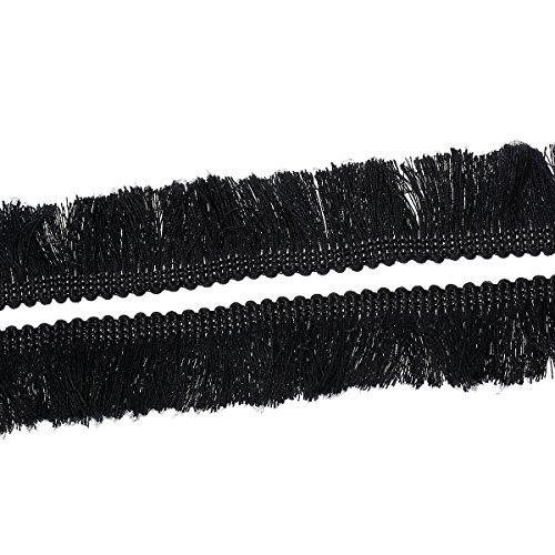 rainbabe schwarz Quaste Spitze Stoff Trim für DIY Tuch Design und Handwerk Decor 5m (Schwarz-stoff-quaste)