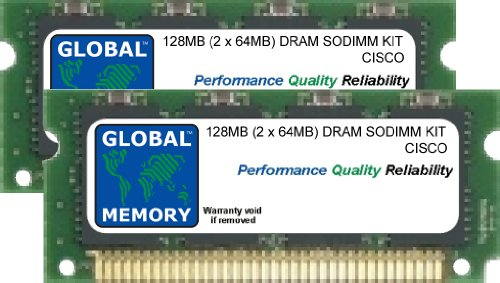 128 MB (2 x 64 MB) DRAM SODIMM Memory RAM Kit für Cisco Catalyst 6000 Series Switches MSFC Modul & SUP1 Engine (mem-msfc-128mb, mem-s1-128 MB) - 64-mb-dram Kit