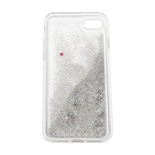 finoo | iPhone 6 / 6S Flüssige Liquid Silberne Glitzer Bling Bling Handy-Hülle | Rundum Silikon Schutz-hülle + Muster | Weicher TPU Bumper Case Cover | Einhorn kackt Einhorn seitlich