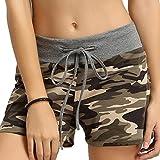 FNKDOR Damen Shorts Stoff Baumwolle Hot Pants mit Gummizug Kurz Hose Beach Sportshorts (L, A Camouflage)