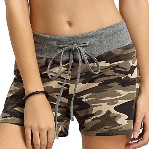 FNKDOR Damen Shorts Stoff Baumwolle Hot Pants mit Gummizug Kurz Hose Beach Sportshorts (XL, A Camouflage)