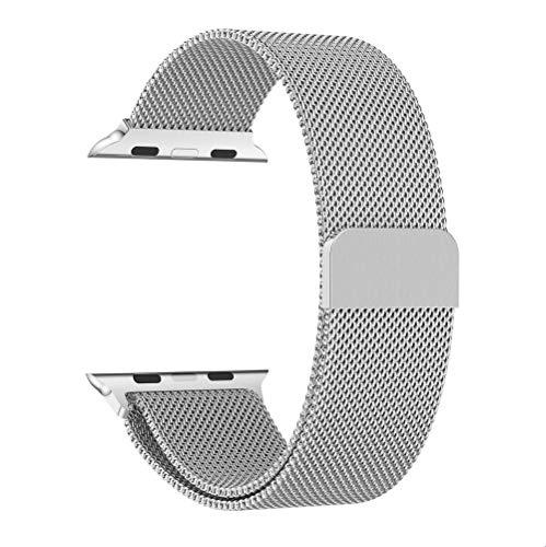Altsommer Armband für Apple-Uhr-Reihe 4 44mm Milanese Magnetic Edelstahl Armband mit Interlock-Verschluss,Mesh Magnet mit Magnetverschluss Band für Damen Herren (150mm-260mm) Gold (Silver)