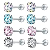 ZeSen Jewelry 4 Pares Brillantes Cubic Zirconia quirúrgicos Acero de los Sistemas Pendientes de Concha Helix El Trago es la perforación del cartílago (2) 3mm año * 4 Pares