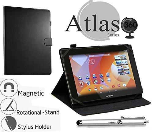 Navitech rotierbares bycast schwarz Leder Case / Cover / Hülle mit Stylus Pen für das Medion Lifetab S8312 wie bei ALDI