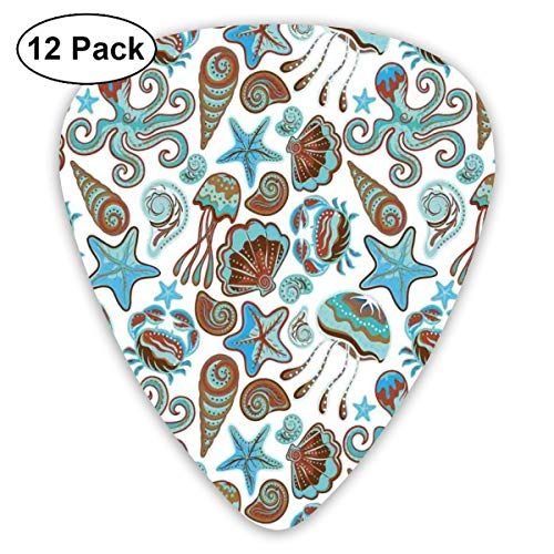 Guitar Picks - Abstract Art Colorful Designs,Illustration Of Sea Life Crabs Octopus Shells Starfish And Medusa Print,Unique Guitar Gift,For Bass Electric & Acoustic Guitars-12 Pack