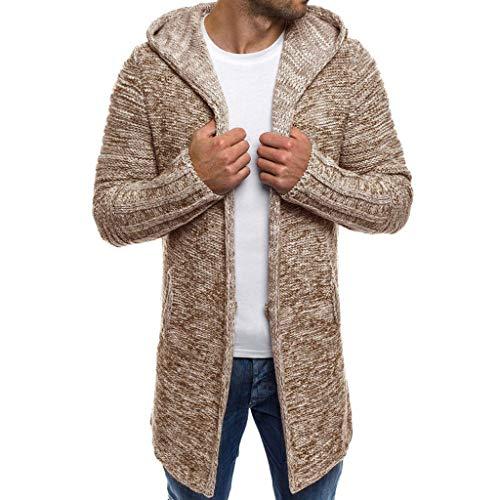Coat Herren,SANFASHION Mäntel Männer Hooded Solid Knit Trenchcoat Jacke Strickjacke Langarm Outwear Bluse