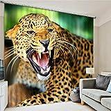 CHUANGLIAN 3D-Fenstervorhänge Leopard Digital Art dekorativer Druck personalisierte Lärmschutz-Polyester europäisch, g