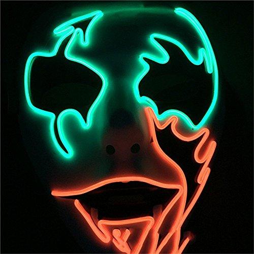 PromMask Masken Gesichtsmaske Gesichtsschutz Domino falsche Front Kaltlicht-Strahlenmaske gemalte Maske Plastik Glitzermaske Halloween Venedig Maske Rot und Grün (Domino Grüne Maske)