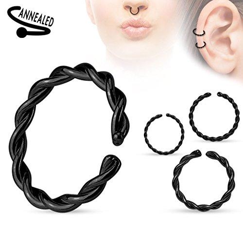 Piercing anneau en acier chirurgical 316L Taille: 1 mm x 10 mm Couleur: Noir