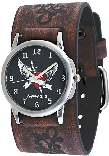 Nemesis #BVFB923K Men's Arrow Thru The Heart Floral Pattern Wide Leather Cuff Band Watch