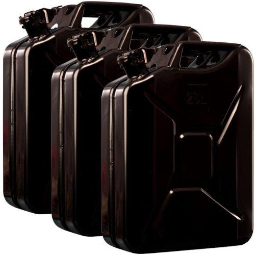 3x Oxid7® Benzinkanister Kraftstoffkanister Metall 20 Liter Schwarz mit UN-Zulassung - TÜV Rheinland Zertifiziert - Bauart geprüft - für Benzin und Diesel