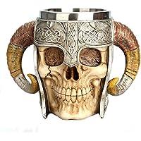 PETSOLA Creativas Tazas de Cráneo del Café del Acero Inoxidable De Viking De 550ml Tazas Cerveza