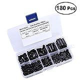 Frcolor 180Pcs Nylon Schrauben Schraubenmuttern Set Kit Box Hex Abstandshalter Schraube Mutter Standoffs