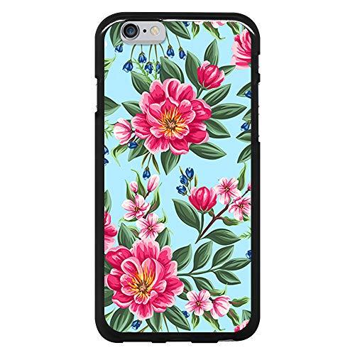BJJ SHOP Schwarz Hülle für [ iPhone 6 / iPhone 6s ], Klar Flexible Silikonhülle, Design: Rosa Blumen auf blauem Hintergrund