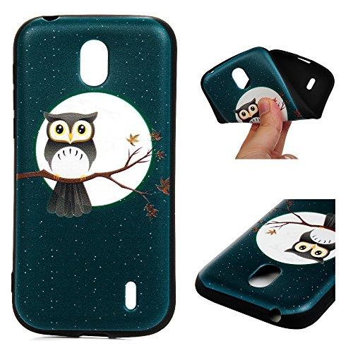 Nokia 1 Hülle Silikon Case Premium Relief TPU Silikon Tasche Schutzhülle Case Cover Handytasche Soft Flex Silikon Schlank Bumper Handyhülle für Nokia 1 Eule