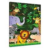 """Bilderdepot24 Keilrahmenbild """"Kinderbild - Lustige Tiere im Dschungel - Cartoon"""" - 90x120 cm 1 teilig - fertig gerahmt, direkt vom Hersteller"""