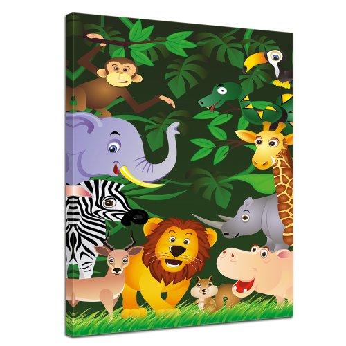 (Kunstdruck - Kinderbild - Lustige Tiere im Dschungel - Cartoon - Bild auf Leinwand - 30x40 cm - Leinwandbilder - Kinder - Grafik - Regenwald - Afrika - Zoo - niedlich)