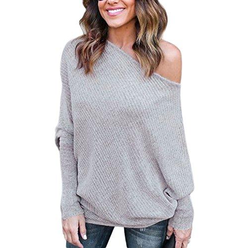 BAINASIQI Damen Elegant Langarm Schulterfrei Pullover Sweater Übergroß Strickpullover Bluse Tops Oberteil (XL, Grau) (Schulter Tunika Pullover)