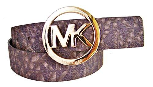 Michael Kors Mk Signature Monogram Logo Gold Buckle Belt Brown Size M