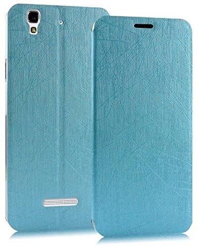 Heartly Premium Luxury PU Leather Flip Stand Back Case Cover For Micromax Yu Yureka / Yureka Plus Cyanogenmod - Power Blue