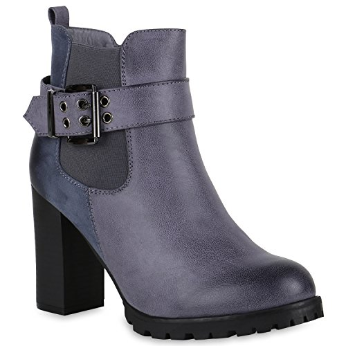 Stiefelparadies Klassische Stiefeletten Damen Schuhe Boots Schnallen Leicht Gefüttert 147656 Grau Blau Schnallen 39 Flandell