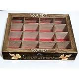 Personalizada Caja de Té, Caja de Almacenamiento de Té, Caja de Té de Madera, Caja de Té por Encargo, Caja de Infusiones Pintada a Mano