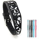Fitbit Flex Pulsera, GMYLE recambio silicona pulsera pulsera con reloj banda Cierre hebilla y remache Fitbit Flex (Patrón Floral blanco)