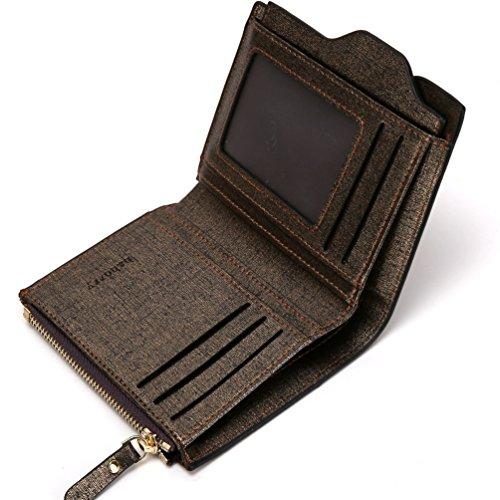 Baborry-Baborry Luxus Männer Brieftasche Mit Reißverschluss Münztasche Movable ID Karte Halter Gold Gold