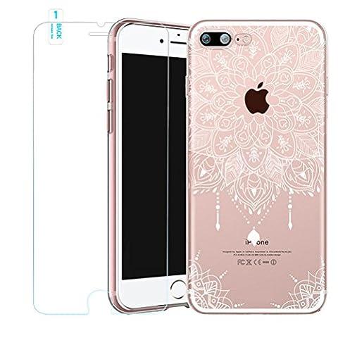 Coque iPhone 6s avec Verre Trempé, Bestsky Housse iPhone 6 Transparent Silicone Blanc Henné Mandala Fleur Motif Design Slim Anti Choc Protecteur Cover pour Apple iPhone 6/6s